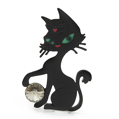Black Matte 'Kitty With Green Eyes' Brooch - 5.5cm Length