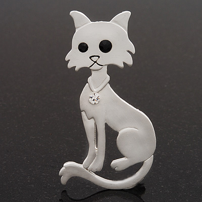 White Matte Enamel &#039;Cat&#039; Brooch In Silver Tone Metal - 7cm Length