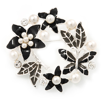 Black Enamel Pearl Crystal Wreath Brooch In Silver Tone Finish - 5cm Diameter