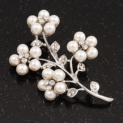 White Faux Pearl Floral Brooch In Silver Tone Metal - 6cm Length