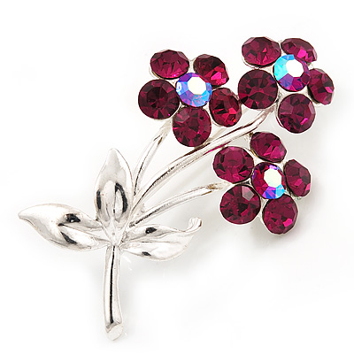 Fuchsia Crystal 'Triple Flower' Brooch In Silver Metal - 4.5cm Length