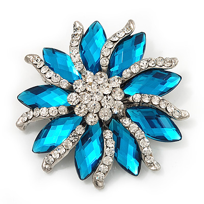 Teal/Clear Diamante Floral Corsage Brooch In Silver Metal - 5.5cm Diameter