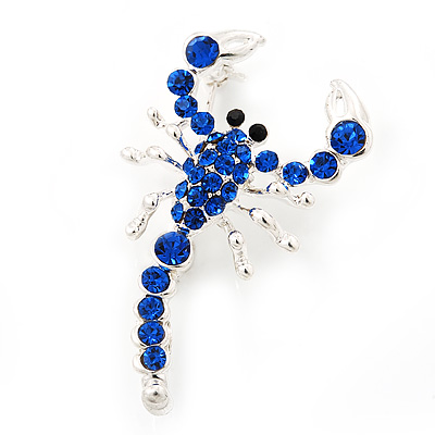 Royal Blue Diamante 'Scorpion' Brooch In Silver Finish - 4.5cm Length