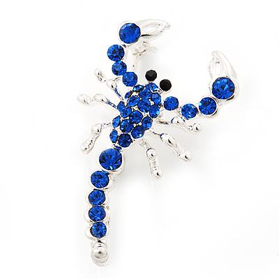Royal Blue Diamante 'Scorpion' Brooch In Silver Finish - 4.5cm Length