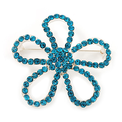 Teal Crystal Open Flower Brooch In Silver Finish - 4.5cm Diameter - main view