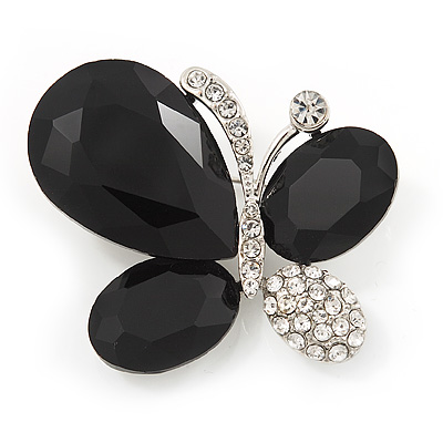 Black/Clear Diamante Asymmetrical 'Butterfly' Brooch In Silver Finish - 4cm Length - main view