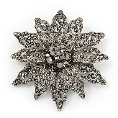 Victorian Style Black Diamante Flower Corsage Brooch In Gun Metal - 6.5cm Diameter - main view