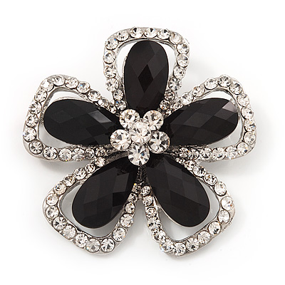Black/Clear Diamante 'Flower' Corsage Brooch In Silver Metal - 5cm Diameter