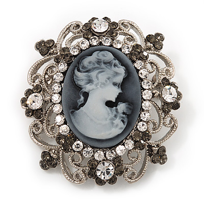 Silver Tone Clear/ Dim Grey Diamante &#039;Cameo&#039; Brooch - 4.5cm Length