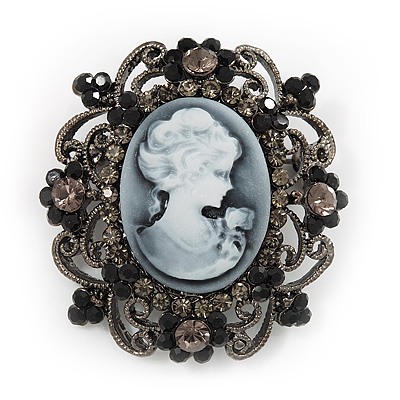 Gun Metal Black/Grey Diamante 'Cameo' Brooch - 4.5cm Length - main view
