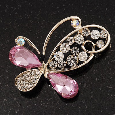 Asymmetrical Pink/Clear Diamante Butterfly Brooch In Gold Finish - 5cm Length - main view