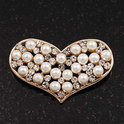 Gold Tone Faux Pearl Diamante 'Heart' Brooch - 4.5cm Length