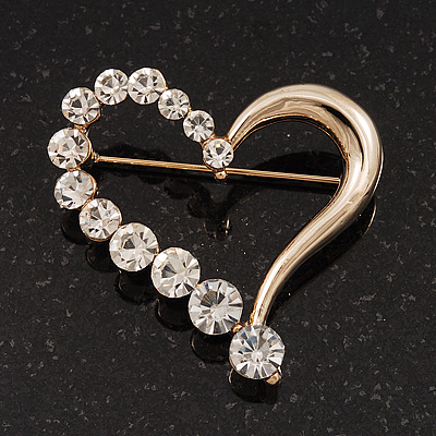 Gold Plated Open Crystal 'Heart' Brooch - 4cm Length