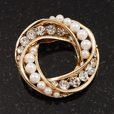 White Faux Pearl &amp; Clear Diamante Round Scarf Pin In Gold Finish - 3.5cm Diameter