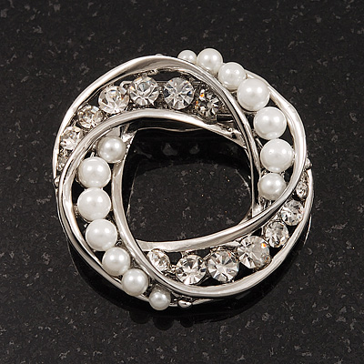 White Faux Pearl &amp; Clear Diamante Round Scarf Pin In Silver Finish - 3.5cm Diameter