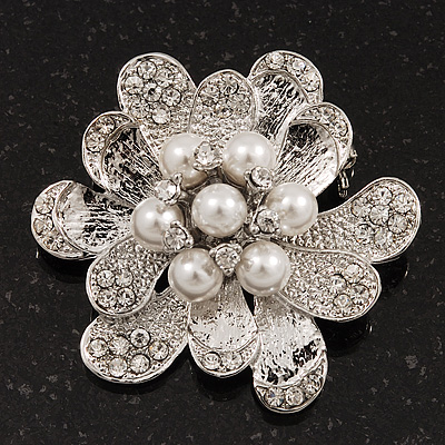 Bridal Clear Diamante White Peal 'Flower' Brooch In Silver Plating - 4.5cm Diameter - main view