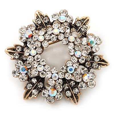 Clear & AB Crystal Wreath Brooch In Antique Gold Metal - 4cm Diameter