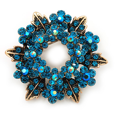 Turquoise Crystal Wreath Brooch In Antique Gold Metal - 4cm Diameter