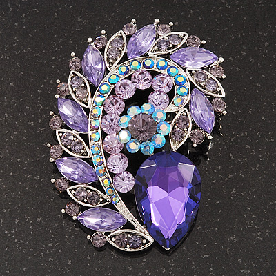 Large Purple/Lavender Glass 'Feather' Corsage Brooch In Silver Plating - 7.5cm Length