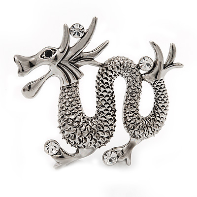 Silver Plated 'Dragon' Brooch - 4.3cm Length