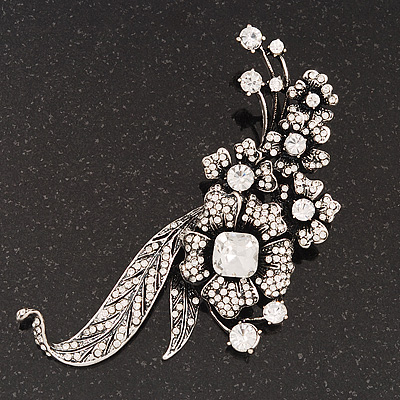 Oversized Antique Silver Clear Diamante Grandma's Treasure Brooch - 11cm Length