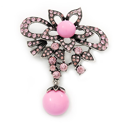 Light Pink Diamante Precious Heirloom Charm Brooch (Burn Silver Tone)