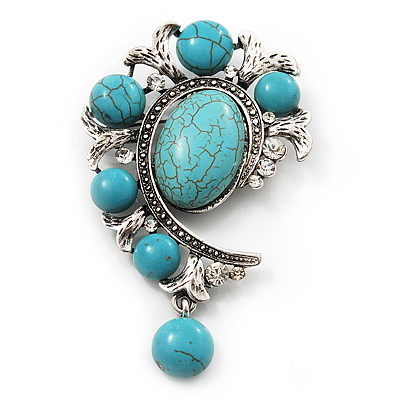 Burn Silver Turquoise Stone Charm Brooch/Pendant - 8cm Length