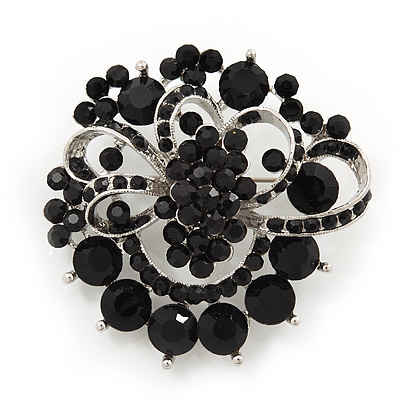 Jet-Black Diamante Corsage Brooch In Silver Plating - 5cm Diameter