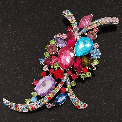 Large &#039;Hollywood Style&#039; Multicoloured Swarovski Crystal Corsage Brooch In Silver Plating - 12cm Length