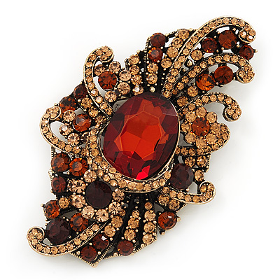 Large Victorian Style Citrine/ Amber Coloured Crystal Brooch In Antique Gold Plating - 10cm Length