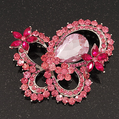 Large Pink Crystal 'Butterfly' Brooch In Rhodium Plating - 8cm Length