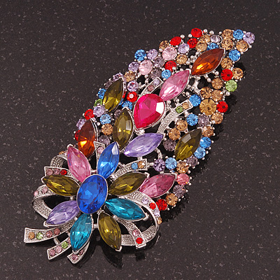 Oversized Multicoloured Glass Floral Corsage Brooch In Silver Plating - 11.5cm Length