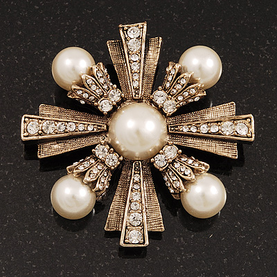Vintage Burn Gold Diamante 'Cross' Brooch - 6cm Diameter