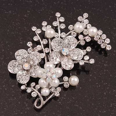Bridal White Pearl & Clear Crystal Floral Brooch In Silver Plating - 6.5cm Length