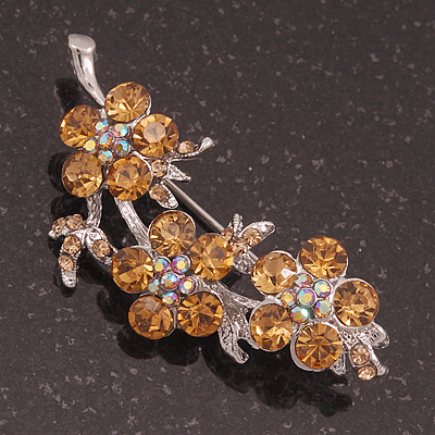Swarovski Crystal Floral Brooch (Silver&Light Citrine) - 5.5cm Length - main view