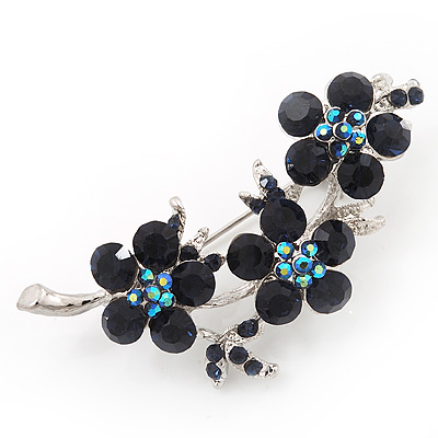 Swarovski Crystal Floral Brooch (Silver&amp;Dark Blue) - 5.5cm Length