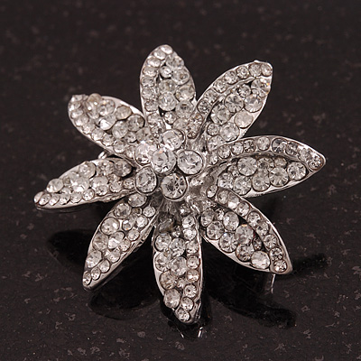Small Clear Crystal 'Flower' Brooch In Silver Plating - 3.5cm Diameter