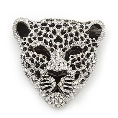 Large Crystal 'Tiger' Brooch In Silver/Black Finish - 5cm Length