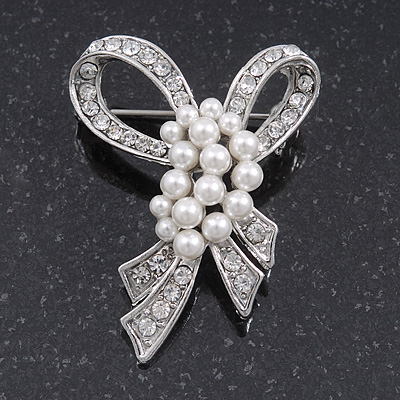 Small Contemporary Pearl Style Crystal Bow Brooch In Silver Plating - 4.5cm Length