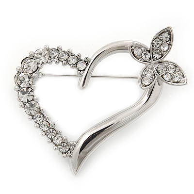 Open Diamante Heart&Butterfly Brooch In Rhodium Plated Metal - 4cm Length - main view