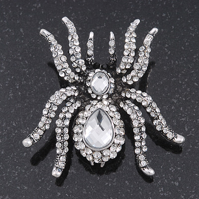 Large Clear Crystal Spider Brooch In Antique Gold Finish - 6cm Length