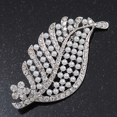 Large Pearl/Diamante 'Leaf' Brooch In Silver Tone Metal - 8.5cm Length