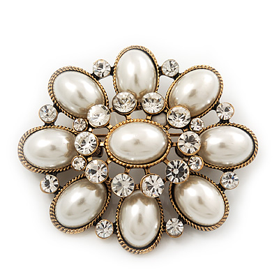 Vintage Faux Pearl Diamante Brooch In Antique Gold Metal - 5.5cm Length - main view