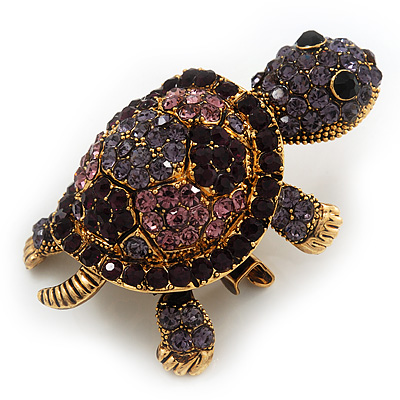 Amethyst/ Deep Purple Swarovski Crystal 'Turtle' Brooch In Gold Metal - 5.5cm Length