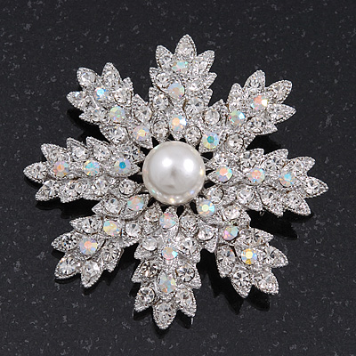 AB Crystal 'Snowflake' Pearl Brooch In Silver Plating - 6cm Diameter