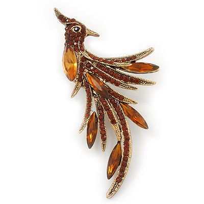 Sparkling Light Amber Crystal Fire-Bird Brooch (Gold Tone)