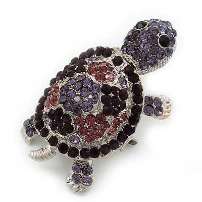 Amethyst/ Deep Purple Swarovski Crystal 'Turtle' Brooch In Silver Plated Metal - 5.5cm Length