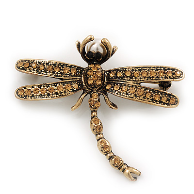 Vintage Citrine Crystal 'Dragonfly With Pearl' Brooch In Antique Gold Metal - 6cm Length
