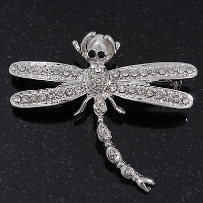 Clear Crystal &#039;Dragonfly With Pearl&#039; Brooch In Silver Plated Metal - 6cm Length