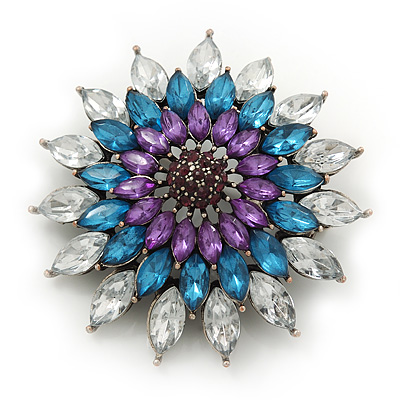 Clear/Teal/Purple Diamante Corsage Vintage Brooch In Burn Silver Metal - 4.5cm Diameter